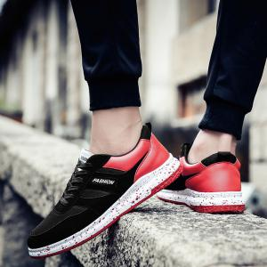 Men'S Shoes Fall Sports Shoes Board Shoes Mesh Shoes Breathable Canvas Shoes - BLACK AND ROSE RED 40