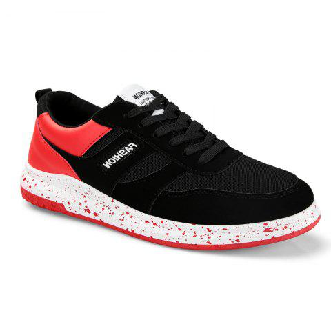 Unique Men'S Shoes Fall Sports Shoes Board Shoes Mesh Shoes Breathable Canvas Shoes BLACK AND ROSE RED 44