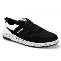 Men'S Shoes Fall Sports Shoes Board Shoes Mesh Shoes Breathable Canvas Shoes - BLACK WHITE 40