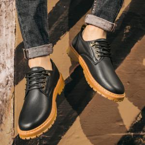 Fall British Boots Men Casual Shoes Breathable Board Shoes Boots Martin Boots - BLACK 43