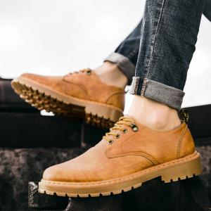 Fall British Boots Men Casual Shoes Breathable Board Shoes Boots Martin Boots - YELLOW 40