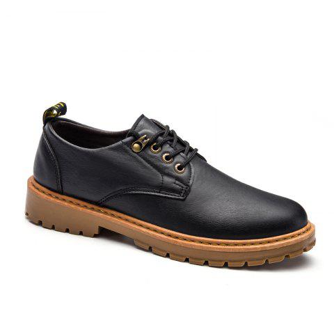 Best Fall British Boots Men Casual Shoes Breathable Board Shoes Boots Martin Boots - 43 BLACK Mobile