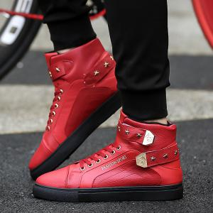 Autumn and Winter High Heel Men'S Shoes Trendy Running Shoes - RED 39