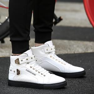 Autumn and Winter High Heel Men'S Shoes Trendy Running Shoes - WHITE 43