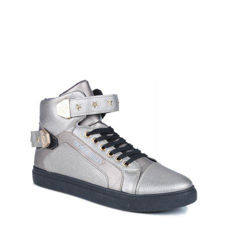 Sale Autumn and Winter High Heel Men'S Shoes Trendy Running Shoes SILVER 44