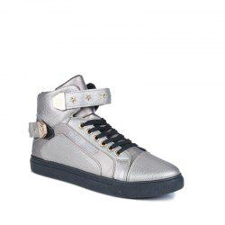 Autumn and Winter High Heel Men'S Shoes Trendy Running Shoes - SILVER 44