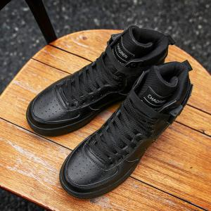 2017 Men'S High Shoes Casual Sports Shoes Casual Shoes  Canvas Shoes - BLACK 43