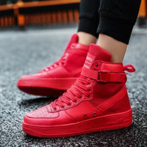2017 Men'S High Shoes Casual Sports Shoes Casual Shoes  Canvas Shoes - RED 44