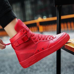 2017 Men'S High Shoes Casual Sports Shoes Casual Shoes  Canvas Shoes - RED 40