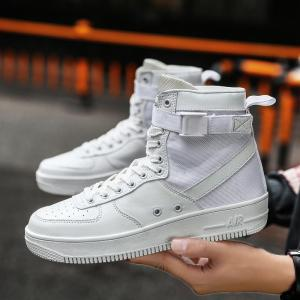 2017 Men'S High Shoes Casual Sports Shoes Casual Shoes  Canvas Shoes - WHITE 44