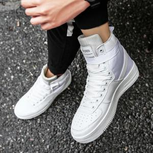 2017 Men'S High Shoes Casual Sports Shoes Casual Shoes  Canvas Shoes - WHITE 42