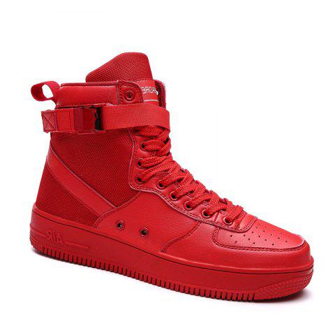 Sale 2017 Men'S High Shoes Casual Sports Shoes Casual Shoes  Canvas Shoes RED 40