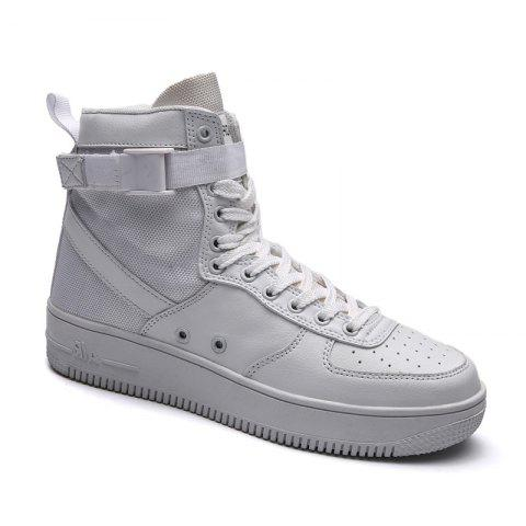Outfits 2017 Men'S High Shoes Casual Sports Shoes Casual Shoes  Canvas Shoes - 43 WHITE Mobile