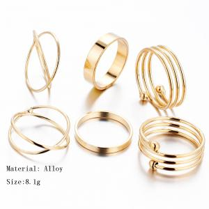6 Pcs Women'S Ring Set Retro Brief Style Hollow Out Exquisite Accessory -