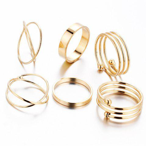 Outfit 6 Pcs Women'S Ring Set Retro Brief Style Hollow Out Exquisite Accessory - 6PCS MARIGOLD Mobile