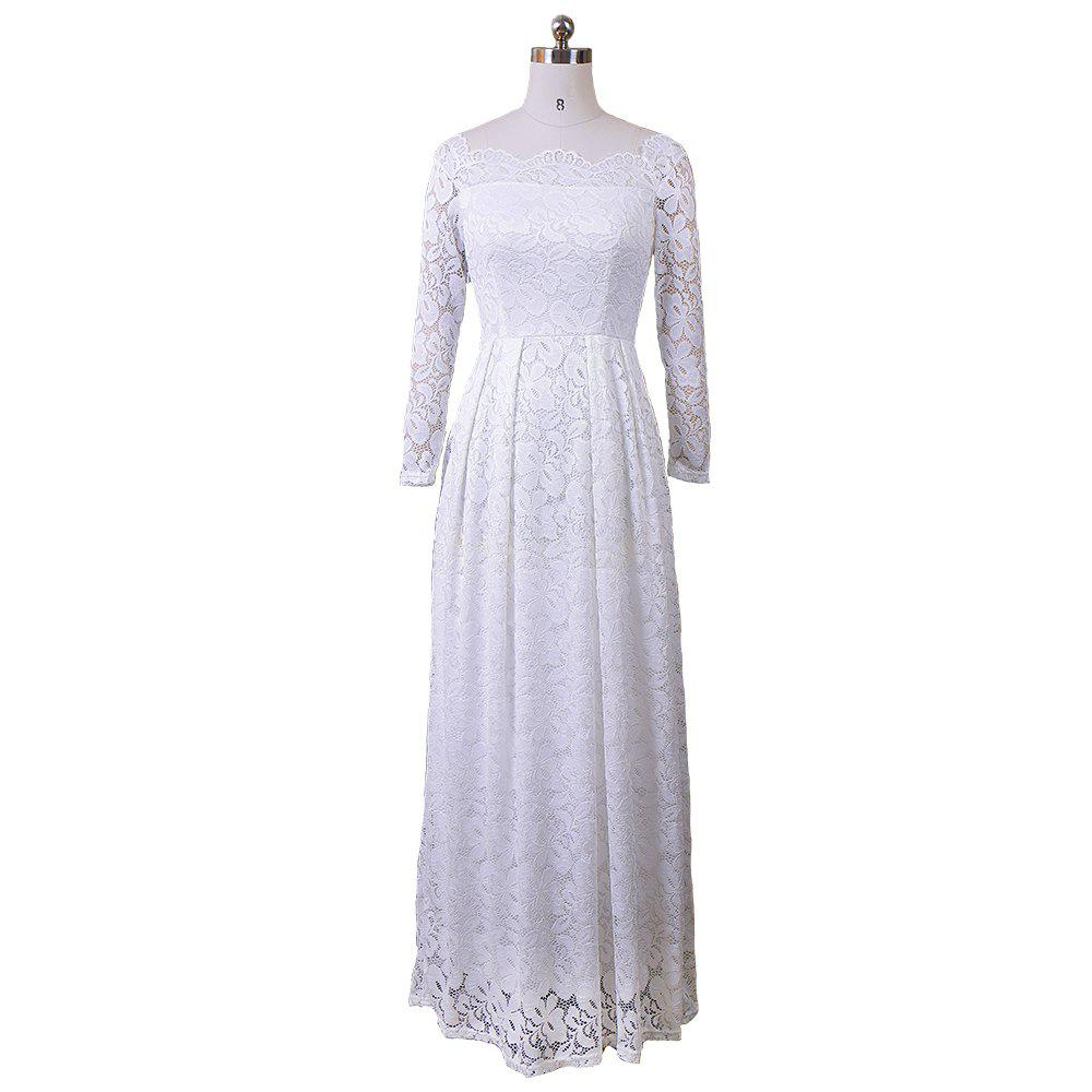 e81332979e05 Chic Lace Off Shoulder Dresses Embroidery Sexy Women 2017 Long Sleeve  Casual Evening Party Formal Maxi