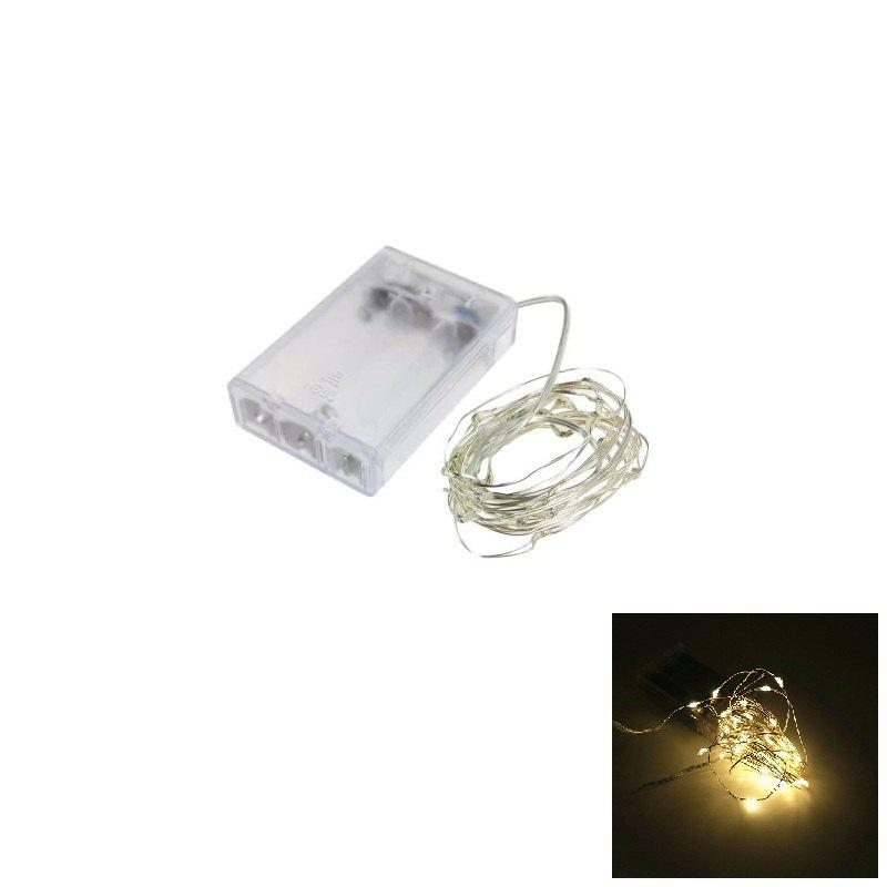 2M 20-LED Silver Wire Strip Light Battery Operated Fairy Lights Garlands Christmas Holiday Wedding Party 1PCHOME<br><br>Color: WARM WHITE LIGHT; Type: String Lights; Light Source Color: Multi Color,Warm White; Length ( m ): 2; Light color: Multi Color,Warm White; Wattage (W): 2; Voltage: DC 4.5V; Power Supply: 3 x 1.5V AA battery,Dry Batteries; Features: Festival Lighting; Light Source: LED; Beam Angle: 360 Degree; LED Quantity: 20; Bulb Included: Yes; Color Temperature or Wavelength: 3000 - 3500K ( Warm White ), 700 - 635nm ( Red ), 650 - 490nm ( Green ); 490 - 440nm( Blue );