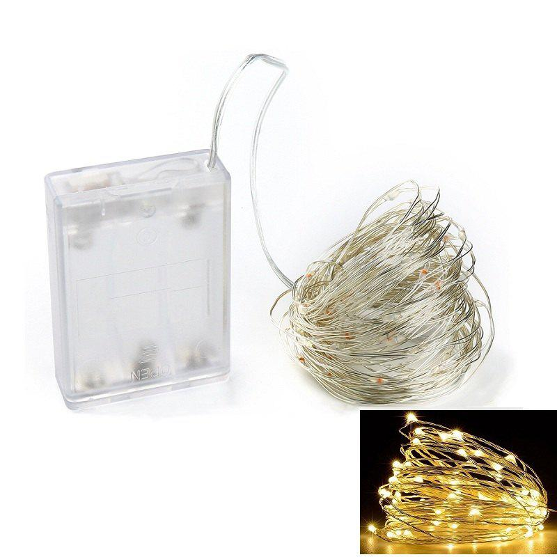 Chic 10M 100-LED Silver Wire Strip Light Battery Operated Fairy Lights Garlands Christmas Holiday Wedding Party 1PC