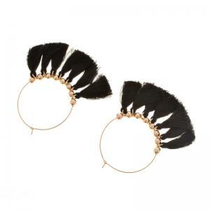 Circle Beads Woven Tassel Female Temperament Thin Stud Earrings - BLACK AND GOLDEN