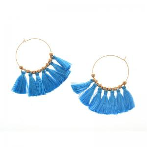 Circle Beads Woven Tassel Female Temperament Thin Stud Earrings - BLUE AND GOLDEN