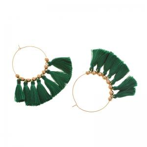 Circle Beads Woven Tassel Female Temperament Thin Stud Earrings - GREEN