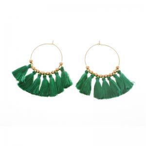 Circle Beads Woven Tassel Female Temperament Thin Stud Earrings -