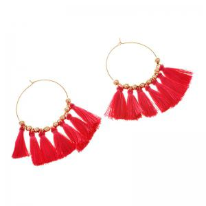 Circle Beads Woven Tassel Female Temperament Thin Stud Earrings - ROSE RED