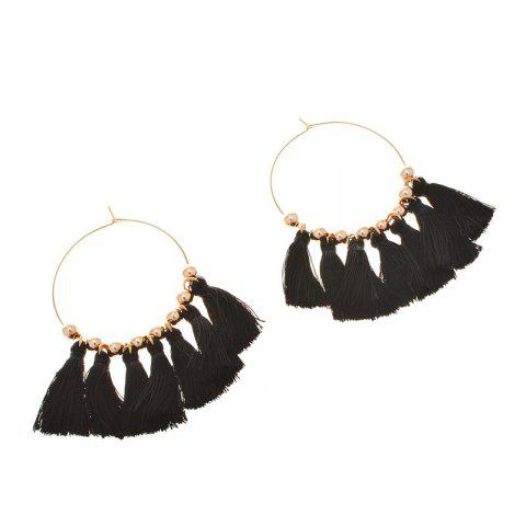 Outfits Circle Beads Woven Tassel Female Temperament Thin Stud Earrings