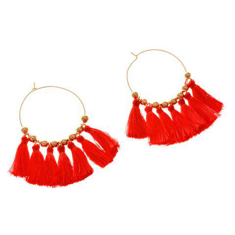 Fancy Circle Beads Woven Tassel Female Temperament Thin Stud Earrings - RED + GOLDEN  Mobile