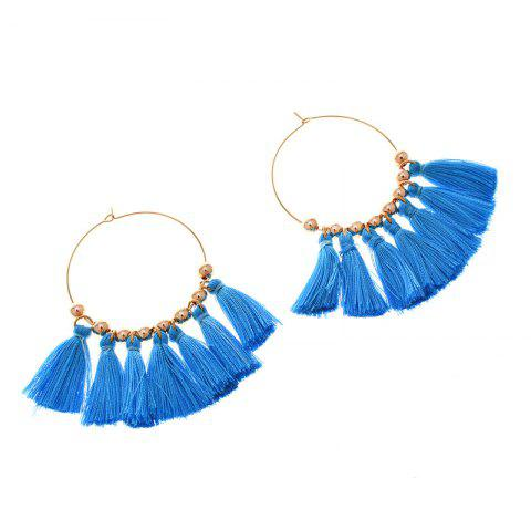 Fashion Circle Beads Woven Tassel Female Temperament Thin Stud Earrings - BLUE AND GOLDEN  Mobile