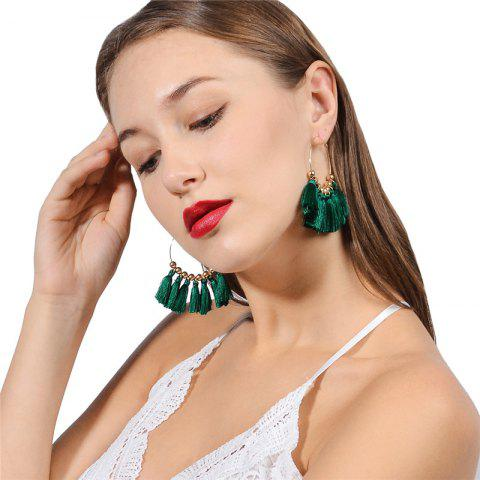 Shops Circle Beads Woven Tassel Female Temperament Thin Stud Earrings