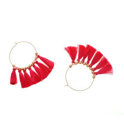 Outfit Circle Beads Woven Tassel Female Temperament Thin Stud Earrings ROSE RED