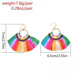 Folk Style Earrings Handmade Exaggerated Multi Ladies Retro Fan Earrings - COLORFUL