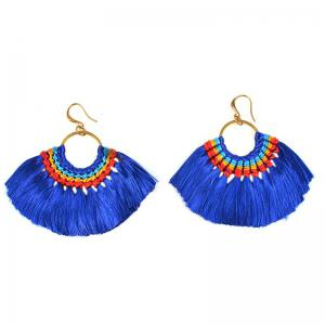 Folk Style Earrings Handmade Exaggerated Multi Ladies Retro Fan Earrings -