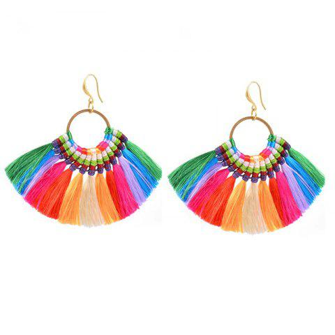 Online Folk Style Earrings Handmade Exaggerated Multi Ladies Retro Fan Earrings COLORFUL