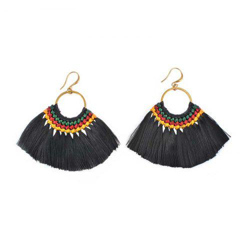 Latest Folk Style Earrings Handmade Exaggerated Multi Ladies Retro Fan Earrings - BLACK AND GOLDEN  Mobile
