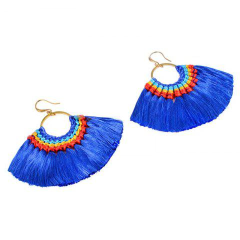 Fashion Folk Style Earrings Handmade Exaggerated Multi Ladies Retro Fan Earrings - BLUE AND GOLDEN  Mobile