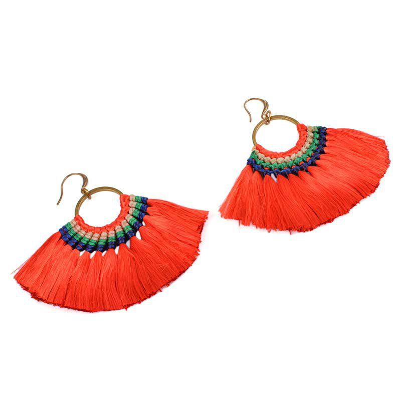 Affordable Folk Style Earrings Handmade Exaggerated Multi Ladies Retro Fan Earrings