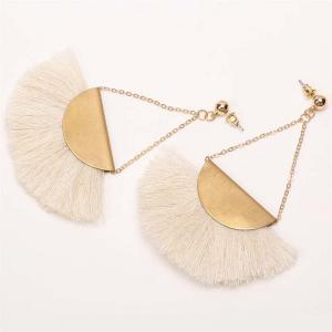 Folk Style Retro Temperament Earrings Geometric Triangle Fan Tassel Earrings -