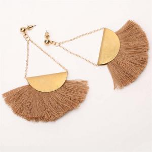 Folk Style Retro Temperament Earrings Geometric Triangle Fan Tassel Earrings - BROWN AND GOLDEN