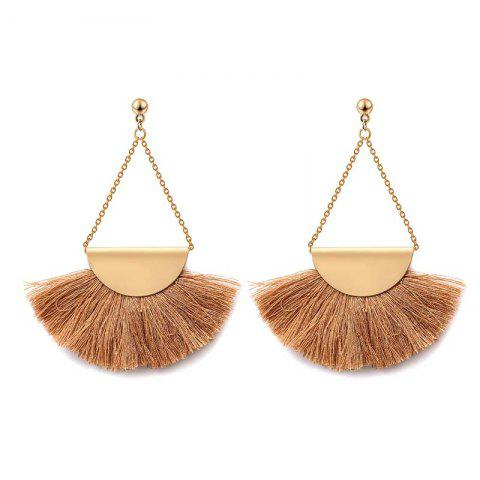 Outfit Folk Style Retro Temperament Earrings Geometric Triangle Fan Tassel Earrings BROWN AND GOLDEN