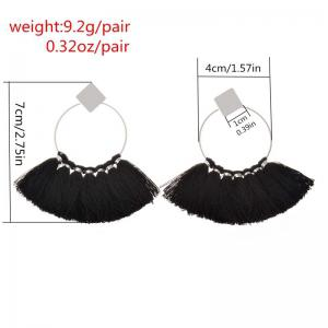 Folk Style Mix Tide Products Earrings Square Sequins Tassel Earrings Accessories - BLACK