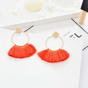 Folk Style Mix Tide Products Earrings Square Sequins Tassel Earrings Accessories -
