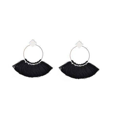 Shops Folk Style Mix Tide Products Earrings Square Sequins Tassel Earrings Accessories - BLACK  Mobile