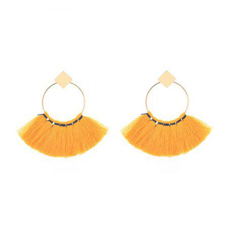 Sale Folk Style Mix Tide Products Earrings Square Sequins Tassel Earrings Accessories - YELLOW  Mobile