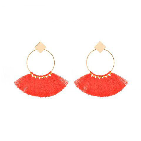 Online Folk Style Mix Tide Products Earrings Square Sequins Tassel Earrings Accessories - RED  Mobile