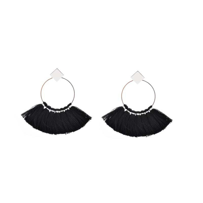 Shops Folk Style Mix Tide Products Earrings Square Sequins Tassel Earrings Accessories
