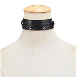European Style Simple Personality Street Pats Womens Double Deck PU Velvet Necklace - BLACK