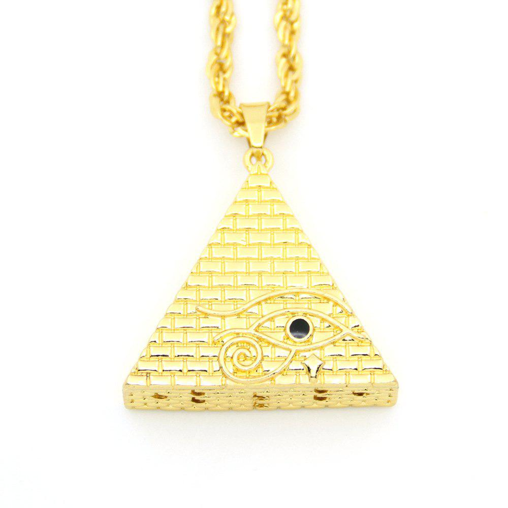 Cheap Hiphop Stereo Triangle Pyramid Eye Necklace