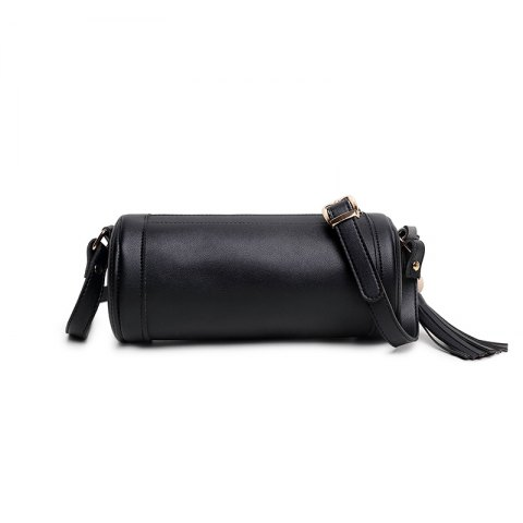 Cheap Trend of Korean Retro Fashion Simple Single Cylinder Handbag Shoulder Bag Pillow Long Tassel All-Match Small Bag - HORIZONTAL BLACK Mobile